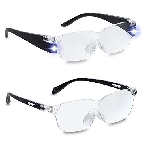 Zoom Vision Plus - Lighted Magnifying Glasses Set - 160% Magnifier Eyeglasses with LED Light - Magnification Glass Set with Aviator Sunglasses, Reading Glasses for Close Work, Fine Print, Hobbies