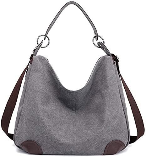 Nowbetter Bolso de mano para mujer, estilo retro, grande, lona, bolso de mano, estilo casual