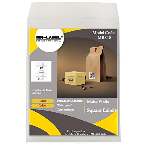 Mr-Label 2' Square White Sticker Label - Waterproof and Tear-Resistant - for Inkjet & Laser Printer - for Food Package | Gift Bag | Jar (10 Sheets Total 120 Labels)