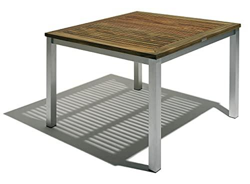 tavolo quadrato da giardino in alluminio e palissandro cm 100x100