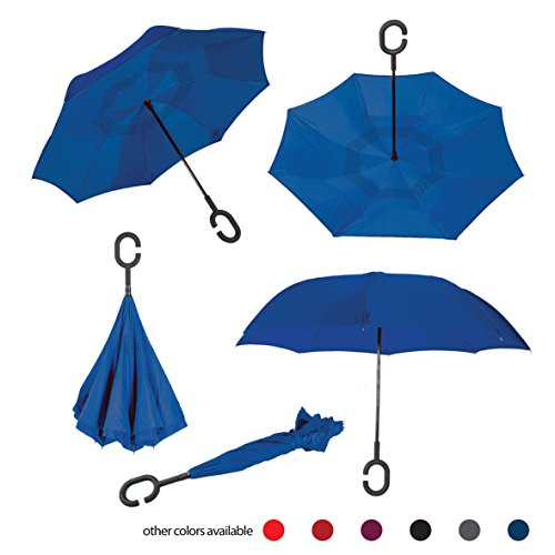 Brellax Inside Out Umbrella by Inverted Umbrella - Windproof Double Layer Reversible Umbrella - Foldable, Practical and Easy to Use - Ideal for UV and Rain Protection - Hands Free Handle - Blue
