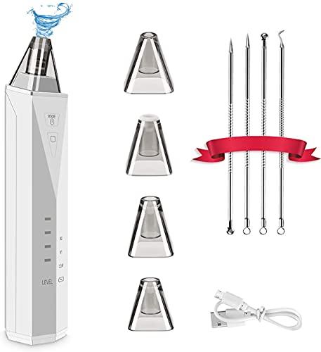 Limpiador de Poros Carttiya Electrico-Limpieza Facial Eliminador, Puntos Negros Limpiador 3 Modos y 4 Cabezales Reemplazables 5 Velocidades con Kit de 4Pcs Aguja para Solucionar Granos y Espinillas