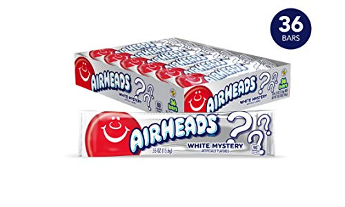 Airheads Candy, Individually Wrapped Full Size Bars, White Mystery, Bulk Taffy, Non Melting, Party, 0.55 oz (Pack of 36)