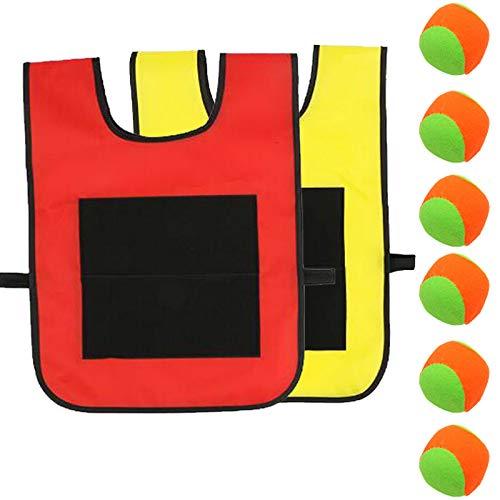 Klebrige Westen Kinder Wurfspiele Spielzeug Set klebrige Jersey Weste Völkerball Spielset Sticky Ball Weste für Kinder im Innen und Außenbereich Wurfspiele Outdoor Spielzeug 2PCS(zufällige Ballfarbe)