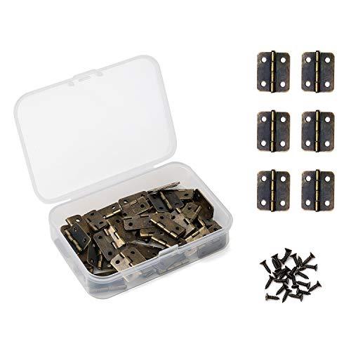 Daimay 50 piezas Bronce antiguo Mini bisagras Bisagras Retro con 200 piezas Tornillos de repuesto para caja de madera Caja de cofre de joyas Gabinete de accesorios de bricolaje  (18 x 16 mm)