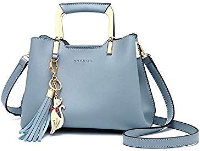 Bloomerang DOODOO Brand Women Shoulder Crossbody Bags Female Handbag Tote Bag Small Pu Leather TopHandle Tassel Messenger Bags Bolso women color blueee