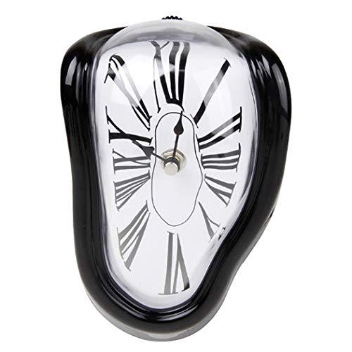 SXSHYUJE Schmelzende Uhr Im Dali-Stil Schmelzende Kaminuhr Mit Silberfarbenem Rahmen, Dekorative Dali Schmelzende Uhr Surrealismus Uhren Salvador Dali, Black