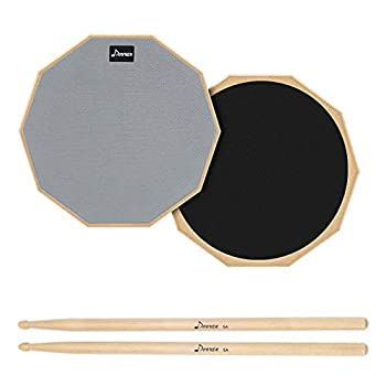 Donner Drum Practice Pad 8 Inch Double Sided Silent Drum Pad With Drumsticks Gray