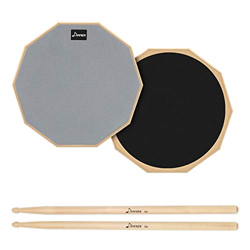 Donner Drum Practice Pad, 8 Inch Double Sided Silent Drum Pad With Drumsticks, Gray