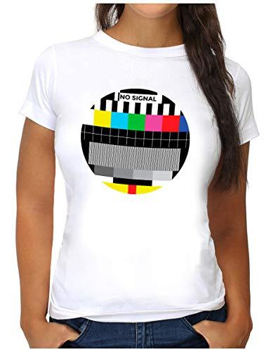 OM3® NO-Signal T-Shirt - Damen - Retro TV Testbild Analoger Fernseher - S, Weiß