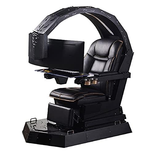JFF Gaming-Stühle Ergonomischer Computerspiel-Stuhl E-Sport-Stuhl Im Racing-Stil Mit Massage-Lendenwirbelstütze, Gamer-Stühle Mit Ausziehbarer Fußstütze