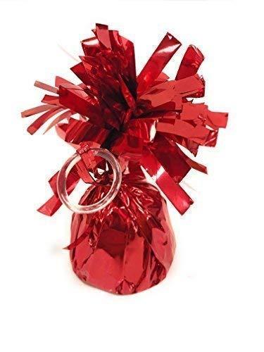 INERRA Folie Metallisch Ballon Gewichte - 6er Pack - mit Praktischer Ballon Aufsatz Ring und 50 Meter Kringelband Helium Geburtstag Party Hochzeit - Rot