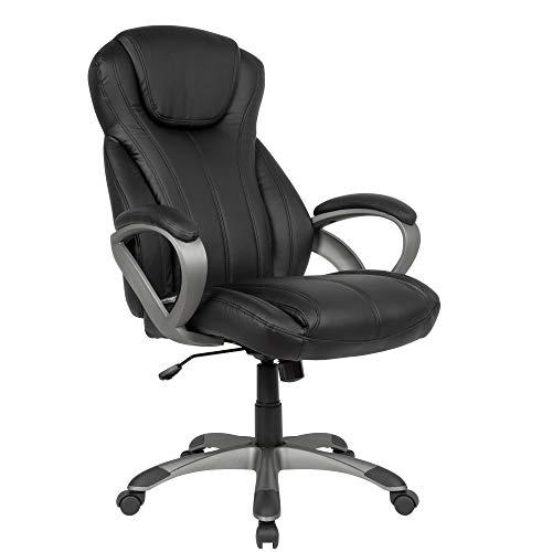 AMSTYLE Schreibtischstuhl Bezug Kunstleder Schwarz Bürodrehstuhl bis 120 kg | Design Drehstuhl Höhenverstellbar | Bürosessel mit Armlehnen & hoher Rückenlehne