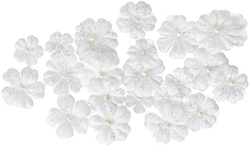 Prima 538491 Pearl Penache Fabric Flower Embellishments, Ice Castle