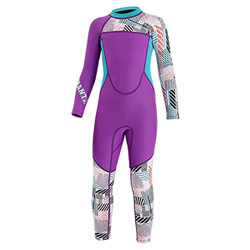 Chicas Traje De Buceo Trajes De Neopreno para Niños Mangas Largas Manténgase Abrigado Trajes De Baño Protección UV Niños Rash Guards Snorkel (Color : Purple, Size : L)