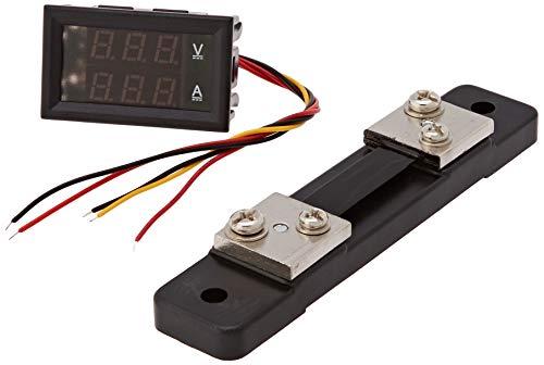 Drok - Voltmetro digitale, munito di display a doppia visualizzazione, di colore nero, rif. YB27VA-50A