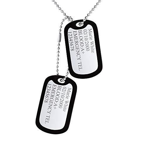 Custom4U Custom Engraved Dog Tag for Men Stainless Steel Ball Chains Double Tags with Silencer Cool Dog Tag for Boys Steampunk Jewelry Teens Accessories Personalized Birthday Gifts for Him