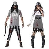 J-COSTUME Disfraz De Halloween Cosplay Adulto Terror Pareja Caribe Pirata Zombi Mascarada Ropa De Fiesta OneSize1
