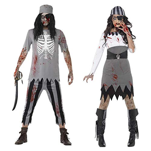 Costume di Halloween Cosplay Adulto Horror Coppia Caraibi Pirate Zombie Masquerade Party Clothing OneSize1