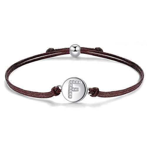 J.Endéar Initial Letter F Bracelet Sterling Silver Zirconia with Filigree Cord, Bracelet for Women Girls Jewellery 24cm Adjustable, Handmade