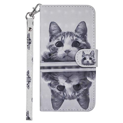 VQWQ Funda con Tapa para Samsung Galaxy M20 - Flip Cover con Soporte y Tarjetero Piel Funda Patrón Pintado Magnét Billetera Plegable Case para Samsung Galaxy M20 [Animal] -Gato