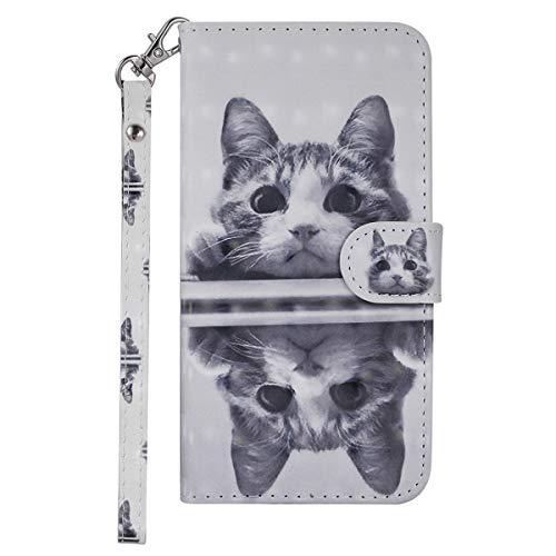 iPhone8 ケース iPhone7 カバー アイフォン8 カバー【Coosmart】可愛い 3D視覚 鏡 猫柄 高級PU レザーケース 手帳型 スタンド機能 カードポッケト ストラップ付き ボタン マグネット式 財布型 ケース カバー スタイリッシュ