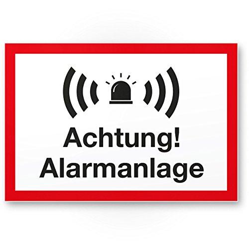Achtung Alarmanlage Kunststoff Schild (weiß-rot 30 x 20 cm) - Achtung/Vorsicht Alarmgesichert - Hinweis/Hinweisschild Alarm - Haus/Gebäude/Objekt