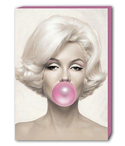 Leinwandbild, Motiv - Marilyn Monroe mit rosafarbenem Kaugummi, Kunstdruck, holz, rose, A2 24x16