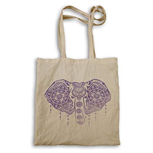 Elephant In Purple Mandalas bolso de mano ff188r
