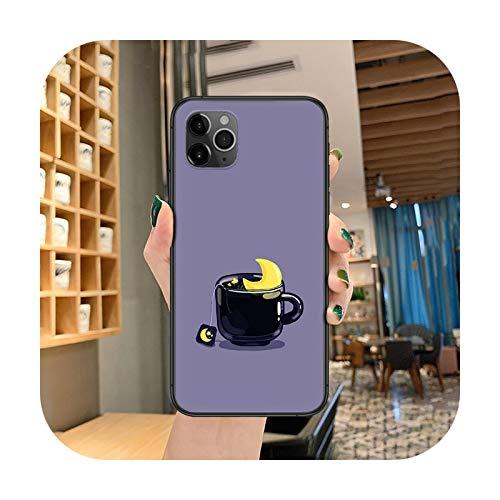 cartoon coffee tea Phone case For iphone 4 4s 5 5S SE 5C 6 6S 7 8 plus X XS XR 11 12 mini Pro Max 2020 black funda painting-2-iphone 12 pro max