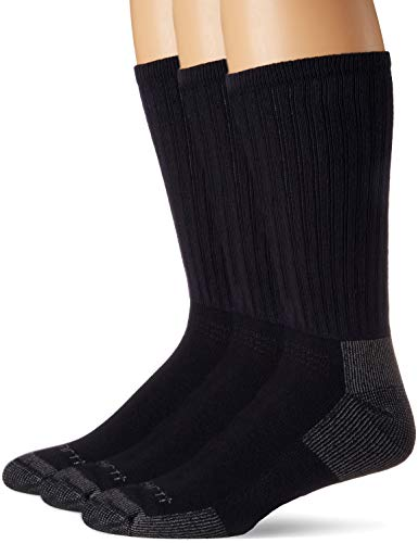 Carhartt Men's 3-Pack Standard All-Season Cotton Crew Work Socks, Navy, Shoe Size: 5-10