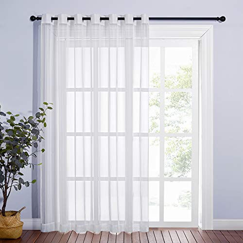NICETOWN Sheer Curtain for Sliding Glass Door 100' Wide, Grommet Voile Sheer Solid Curtain Panels with Light Filtering Window Treatment for French Door, Ivory, 84' Long, 1 Piece