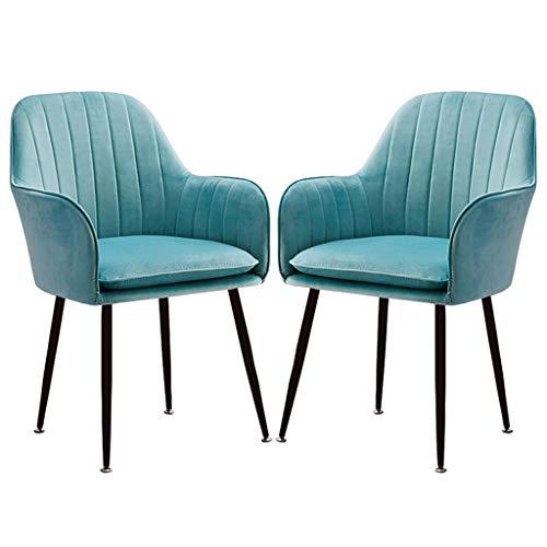 ZYXF 2 Pezzi Set Retro Pranzo Sedie Poltrone Morbido Velluto Sedile con Ammortizzatore Posteriore Gambe Metallo Cucina Sedie, for Sala Pranzo e Soggiorno Desk Chair