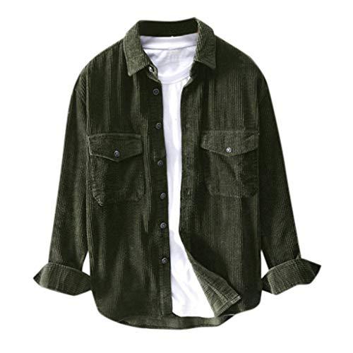 Yowablo Hemden Herren Winter Langarm Cord Umlegekragen Casual Top Bluse (L,2- Grün)