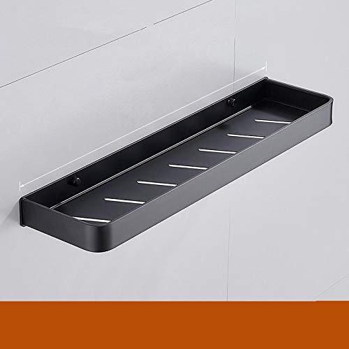 Estante de esquina para baño, estante de ducha con barra de toallero, estantes de esquina de aluminio, color negro y plateado, montaje en la pared, soporte de almacenamiento de cocina de 40 cm negro