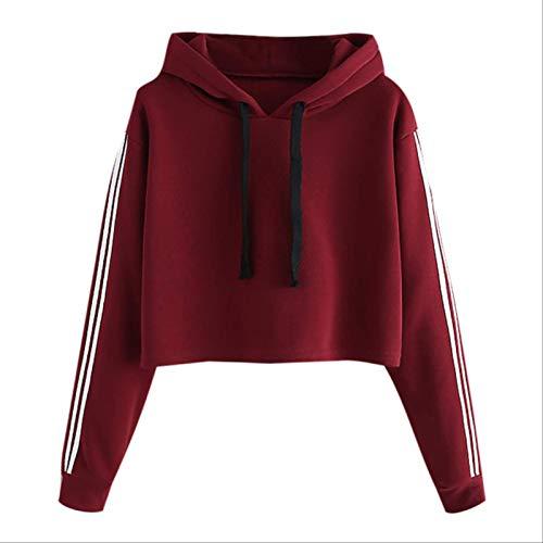 ZCMWY Womens Blouse Autumn Winter Long Sleeve Blouse Striped Long Sleeve Hoodie Sweatshirt Jumper Hooded Pullover Tops Blouse L Burgundy