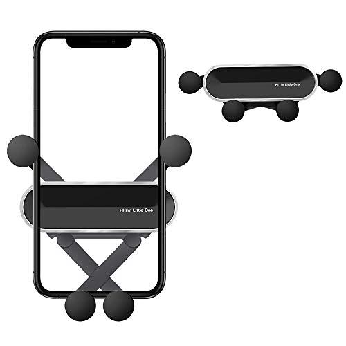 Soporte Móvil Coche Universal Gravedad con 360 Grados Rotación Porta Movil Coche para Rejillas del Aire de Coche para iPhone Android Samsung Huawei GPS Dispositivo etc de 4.7 a 6.7 Pulgadas Plata