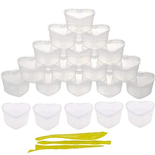 REYOK 24 paquetes de recipientes de almacenamiento con forma de corazón con tapa a prueba de fugas de plástico transparente caja de almacenamiento para cuentas de arcilla suave
