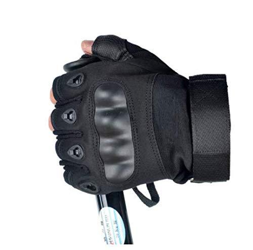 Unsex Motocicleta Guantes sin Dedos Nudillo Duro Moto Motocross Bicicleta Carreras Montar Ciclismo Medio Dedo Moto Protector Negro Talla XL
