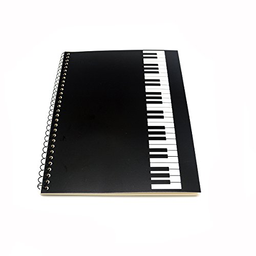 Blank Sheet Music Composition Manuscript Staff Paper Art Piano-Keyboard-Music-Notebook Black 50 Pages 26x19cm (Black Piano)