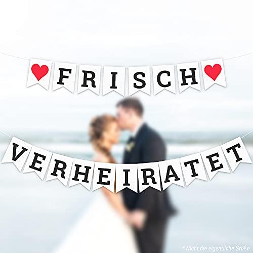 ecooe Frisch Verheiratet Banner Dekoration für Hochzeit Brautdusche Just Married Girlande mit 19Stk Wimpeln und 3M Schleifenband *2