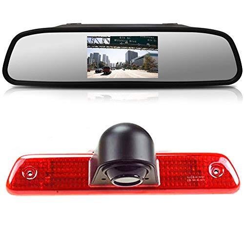 〔Rear View Camera Kit〕 4.3 inch Rearview Mirror Monitor + Car HD waterproof 3rd Brake Light Reverse Camera for Peugeot Expert/Fiat Scudo/Citroen Jumpy 2007 – 2016