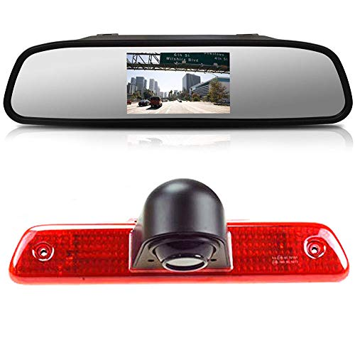 〔Rear View Camera Kit〕 4.3 inch Rearview Mirror Monitor + Car HD waterproof 3rd Brake Light Reverse Camera for Peugeot Expert/Fiat Scudo/Citroen Jumpy 2007 – 2016