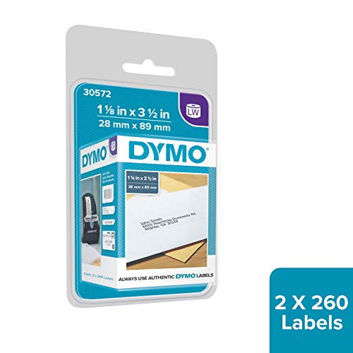 DYMO Authentic LW Mailing Address Labels for LabelWriter Label Printers, White, 1-1/8'' x 3-1/2'', 2 rolls of 260 (30572)