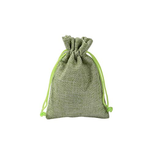 Useful Candy Bag | Linen Drawstring Bags Gift Candy Jewelry Food Nuts Cookie Bag Mas Party Wedding Favors and Gift Packaging-Light Green-10x14cm