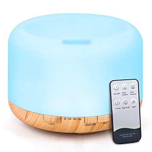 Tenswall 500ml Essential Oil Diffusers Ultrasonic Humidifier Remote Control Aromatherapy Aroma Diffuser with 7-Color Changing LED Lights & Waterless Auto Off