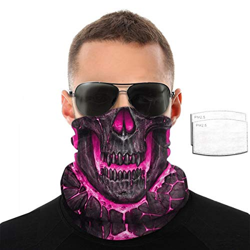 Red Pink Purple Flaming Flame Fire Skull Cool Halloween Scary Pm2.5 Filter Neck Gaiter Reusable Washable Face Dust Mask Bandana Half Bavaclava Headband Shield Scarf Fishing Print Pattern
