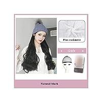 ナチュラル接続髪合成のBlack Hatカーリーヘアストレートヘアウィッグ弾性ニット帽子ウィッグ耐熱女性、21,22Inches