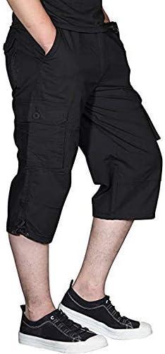 Ivnfout Men's Casual Twill Elastic Cargo Shorts Below Knee Loose Fit Multi-Pocket Capri Long Shorts