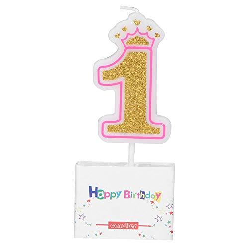 Mumusuki Verjaardagskaars, 1 jaar, voor meisjes, kinderfeestjes, krans, rookvrij, kaarsen, cijfers, feestaccessoires